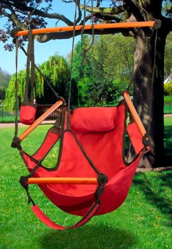 New Hammock Hanging Chair Air Sky Swing Outdoor Chair Solid Wood 250lbs (Red)
