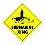 "Submarine Xing Crossing Sign Zone Xing | Indoor/Outdoor | 12"" Tall Sub"