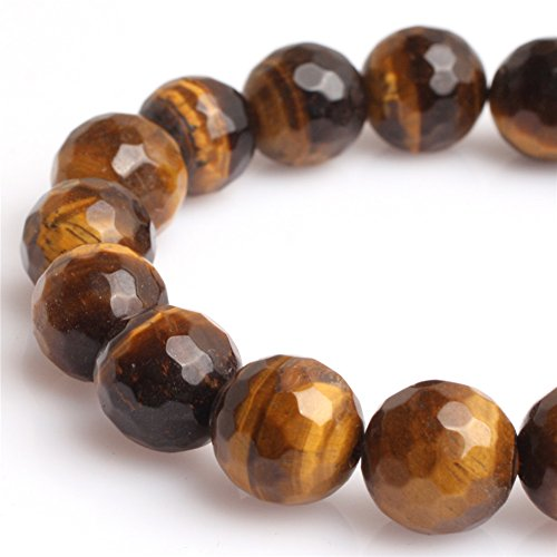 - JOE FOREMAN 12mm Yellow Tiger Eye Semi Precious Gemstone Round Faceted Loose Beads for Jewelry Making DIY Handmade Craft Supplies 15