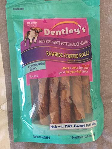 Dentleys Rawhide Stuffed Rolls Dog Treat- Sweet Potato & Duck Flavor ()