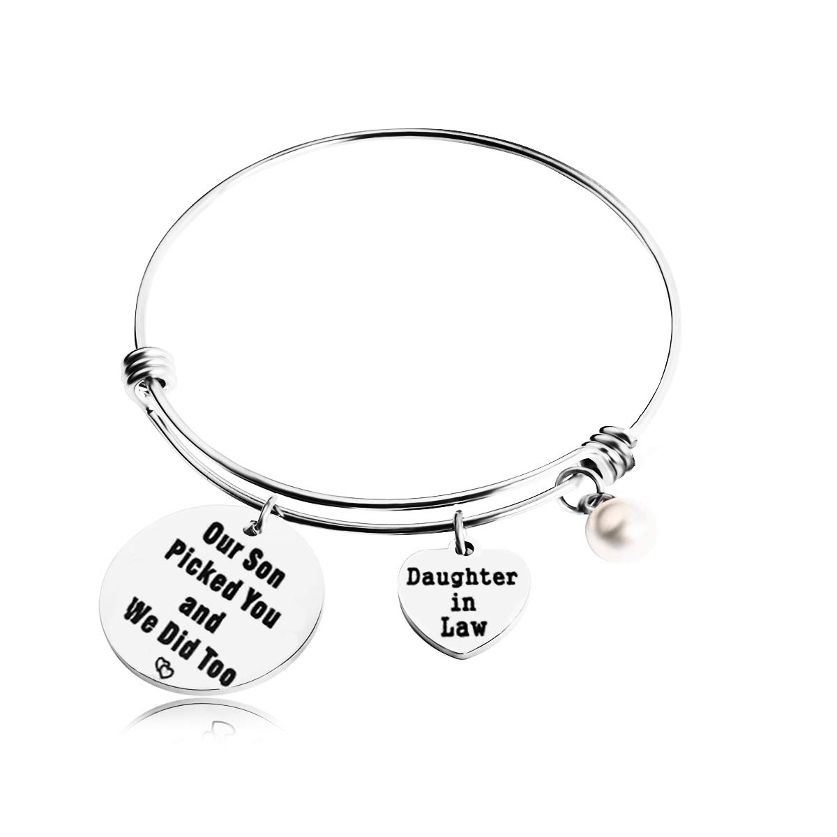 REEBOOOR Daughter in Law Bracelet Daughter in Law Jewelry Our Son Picked You and We Did Too Gift for Daughter in Law (Silver)