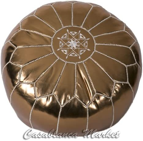 Casablanca Market Moroccan Embroidered Faux Cotton Stuffed Leather Pouf Ottoman, Metallic Bronze
