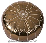 Casablanca Market Moroccan Embroidered Faux Cotton Stuffed Leather Pouf/Ottoman, Metallic Bronze