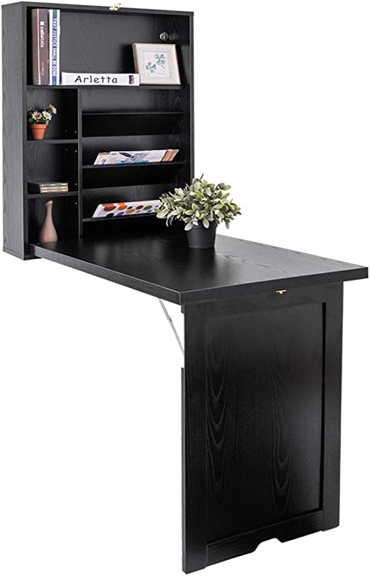 Costway Bureau Mural Rabattable Table Murale Pliable En Mdf Meuble