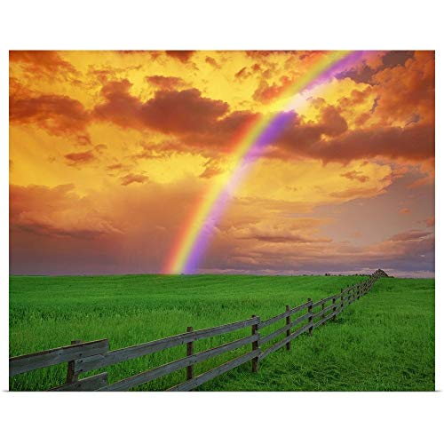 GREATBIGCANVAS Poster Print Rainbow in Country Field with Gold Clouds by Don Hammond 45