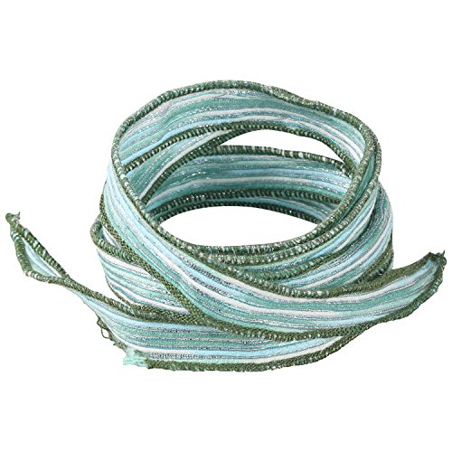 - KELITCH Silk Ribbon Wrap Wrist Band Friendship Rope Bracelet Stripe Boho Style for Sister (Green A)