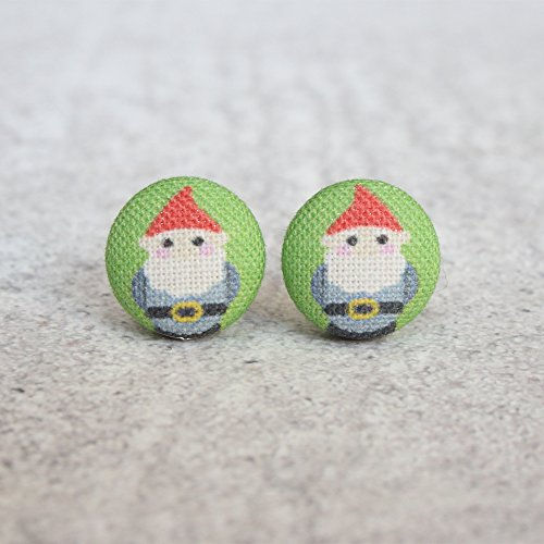 Lawn Gnomes Fabric Button Earrings