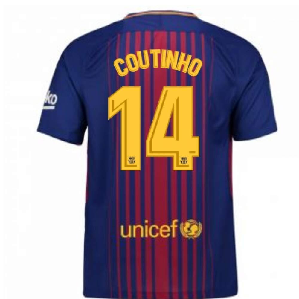 2017-2018 Barcelona Home Football Soccer T-Shirt Trikot (Phillipe Coutinho 14) - Kids