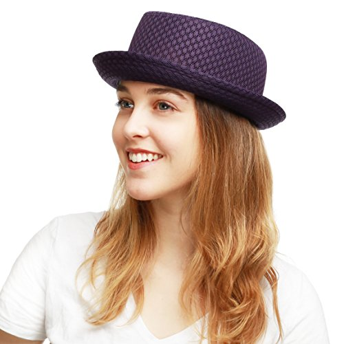 The Hat Depot Light Weight Classic Soft Cool Mesh Porkpie hat (S/M, Purple) (Fedora Hats For Women Purple)