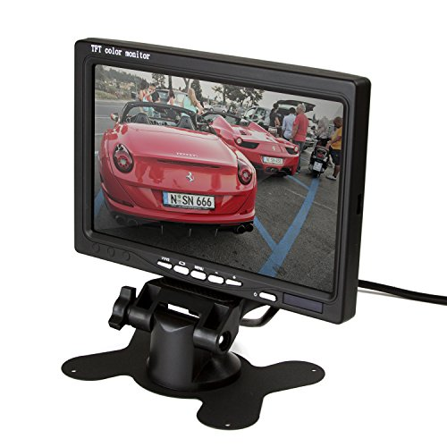 ZettaGuard 7-inch High Resolution 800 x 480 TFT LCD Car Rear View Camera Monitor with Stand, Rotating Screen and 2 AV Inputs ()