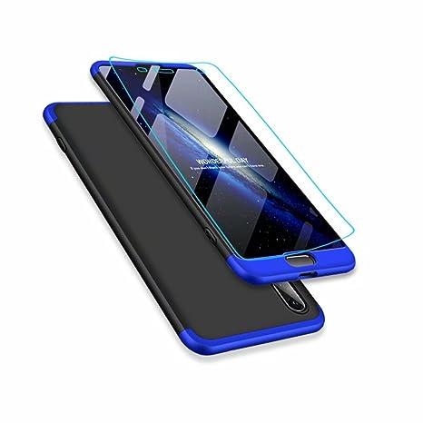 Funda Huawei P20 Lite y Protector de Pantalla de Vidrio Templado, MISSDU Carcasa 3 in 1 360 Grados Rígida PC Protective Anti-rasguños Case, Azul Negro