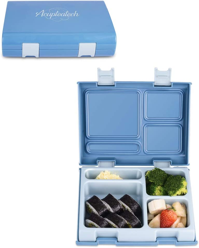 Bento box Lunch Box for Kids Adults,1200ml Larger Leakproof Containers,Durable 4-Compartment Food Container, BPA Free, Fit for Office,School, Picnics, On-the-go, Blue