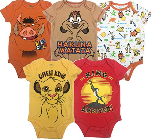 Disney Lion King Baby Boys' 5 Pack Bodysuits Simba Timon Pumbaa, 3-6 Months for $<!--$27.99-->