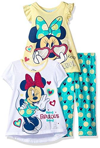 3 Piece Elastic Waist Leggings - Disney Little Girls' 3 Piece Minnie Mouse Printed Legging Set, Yellow, 6X