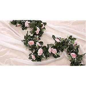 FYYDNZA 11Pcs 240Cm Silk Tea Roses Roses Ivy With Fake Green Leaves Home Decoration Wedding Diy Garland Pendant Artificial Flowers,Rosado 106