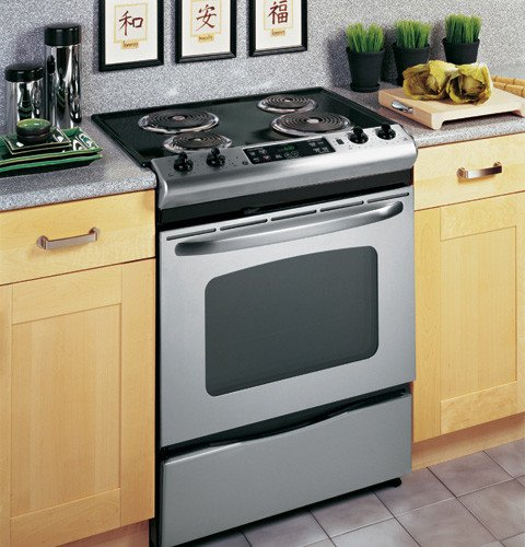 ... This Electric Slide In Oven From GE Is A Simple, Straightforward And  Easy To Use Option For The Home Cook And Boasts 4 Coil Elements On The  Cooktop.