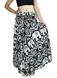 Banjamath@ Women's Long Bohemian Style Gypsy Boho Hippie Skirt (M, Elephant Black)