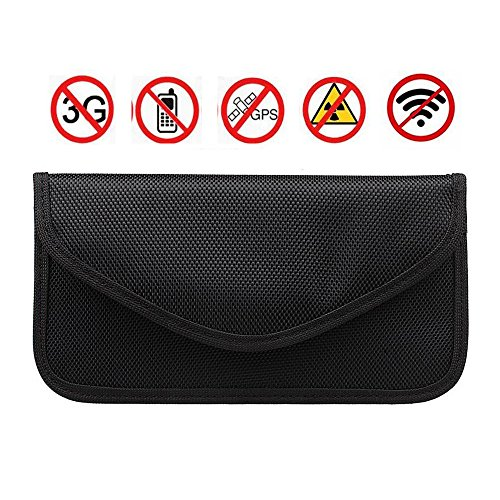 RFID Signal Blocking Bag,Anti-tracking Anti-spying Anti Radiation Key Pouch Signal Blocker Jammer Signal Shielding Wallet Case for Cell Phone Privacy Protection and Car Key FOB (Black)