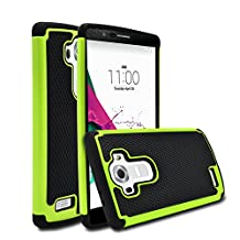 LG G4 Case, MagicMobile [Dual Armor Series] Hybrid Impact Resistant LG G4 Shockproof Tough Case Hard Rugged Plastic with Rubber Silicone Skin Protective Case for LG G4 - Black / Green