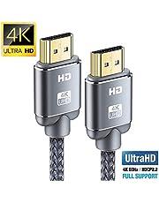 Cable HDMI 4K 2metros-Snowkids Cable HDMI 2.0 de Alta Velocidad Trenzado de Nailon 4K a 60Hz a 18Gbps Compatible con Fire TV, 3D, Función Ethernet, Video 4K UHD 2160p, HD 1080p-Xbox 360 PS3 PS4-Gris