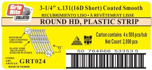 Grip-Rite 16d Short - 3-1/4-Inch x  131 Vinyl Coated, Smooth Shank, 21?  Full Round Head, Plastic Collated, Stick Framing Nails - 500 per tub