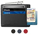 Genuine Leather RFID Blocking Credit Card Holder - Slim & Thin 8 Card Slots RFID Credit Card Holder for Women and Men - Minimalist Front Pocket Wallet Design Protects All Credit, ID Cards (Black)
