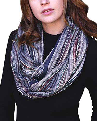 (Women's Shimmer Sparkle Infinity Scarf, Festival Bliss Lightweight Fashion Shawl (Monet Blue Scarlet))