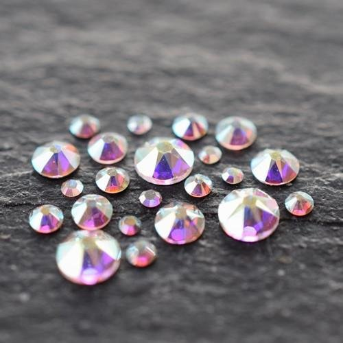 Mix 250ct Bag - Swarovski Flatback Hotfix Size Mix - Crystal AB | Pack of 250 | Small & Wholesale Packs | Free Delivery