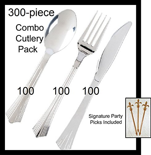 UPC 720825572055, 100 Sets Silver Visions Plastic Silverware, Silver Look Cutlery Combo of 300 Pieces Includes 100 Forks, 100 Knives, 100 Spoons