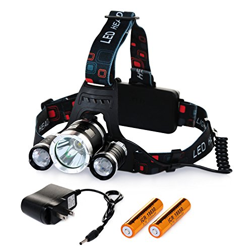 Chnano LED Headlamp Headlight Waterproof Flashlight Torch 3 CREE XM-L2 T6 LED 5000 Lumen Bright with Rechargeable Batteries and Wall Charger for Hiking Camping Riding Fishing Hunting Emergency - Running Malaysia Gear