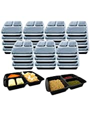 3 Compartment (10 Pack) Premium BPA Free Reusable Meal Prep Containers - Plastic Food Storage Trays with Airtight Lids - Microwavable, Freezer and Dishwasher Safe - Stackable Lunch Boxes