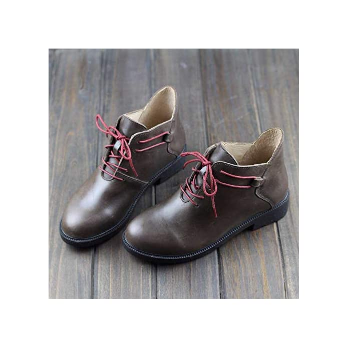 Shukun Stivaletti Il Primo Strato Di Autunno E Inverno Sen Scarpe Casual Da Donna Fatto A Mano Pu Retro Art In Martin Boots