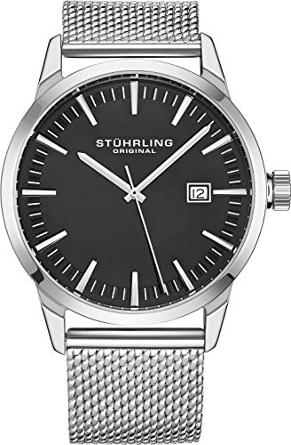 Stuhrling Original Mens Watch Mesh Band - Dress + Casual Design - Analog Watch Dial with Date, 555 Watches for Men Collection (Grey)