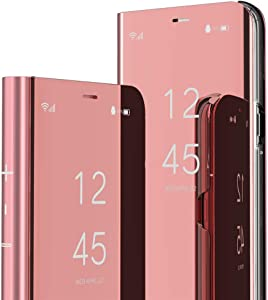 ISADENSER Compatible with iPhone 6 Plus Case iPhone 6s Plus Case Wallet Electroplate Plating Mirror Effect PU Protective with Stand Flip Cover for iPhone 6 Plus / 6S Plus Mirror PU Gold Rose