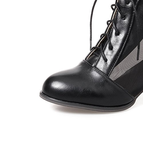 Solid Women's Heels Lace Boots Round Kitten Toe AgooLar up Black Microfibre 7E6w7Hxp