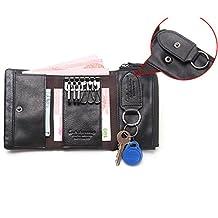 Genuine Leather Car Key Case Card Holder Bag Zippered Key Coin Bill Wallet