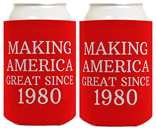 Birthday Gifts for 40th Birthday Making America Great Since 1980 40th Birthday Gag Gifts for Birthday Party 2 Pack Can Coolie Drink Coolers Coolies Red