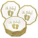 50 Baby Shower Plates 9 Inch Paper Disposable for Boys or Girls Gold Foil and White Oh Baby with Baby Footprints
