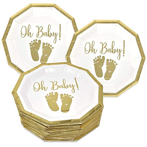 50 Baby Shower Plates 9 Inch Paper Disposable for Boys or Girls Gold Foil and White Oh Baby with Baby Footprints -