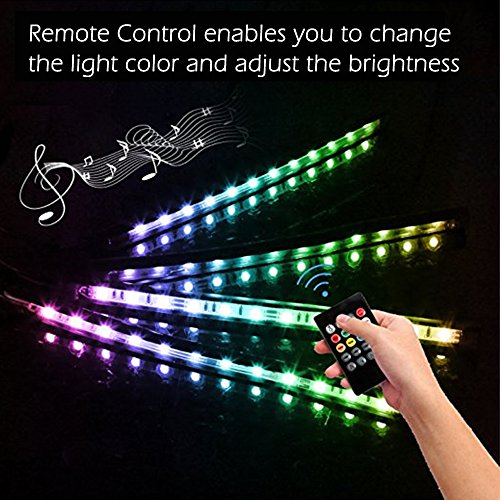 Car-LED-Strip-Light-DLAND-Multicolor-Music-Car-Interior-Lights-with-4pcs-48-LEDS-Music-LED-Lighting-Kit-Underdash-Lighting-Kit-with-Sound-Active-Function-and-Wireless-Remote-Control