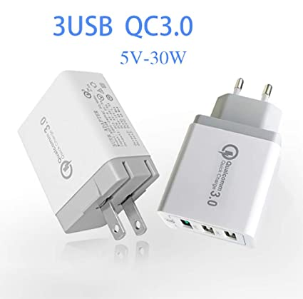 ZUZU Cargador de Pared USB, 5A 50W 3 Puertos, Cargador de ...
