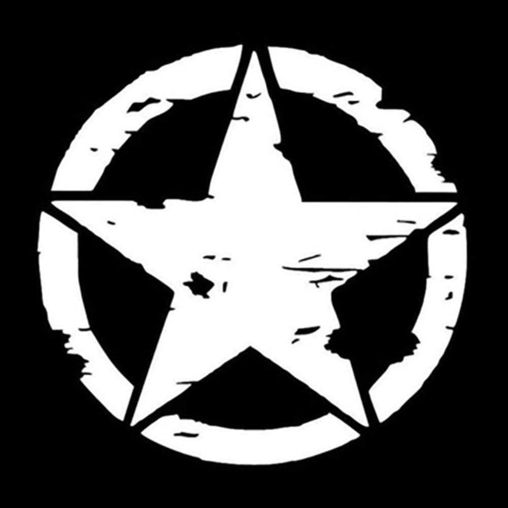 Blanc Hydz 1 PC 50 CM Militaire arm/ée /étoile Capot Autocollant Autocollant pour Jeep Wrangler JK CJ TJ YJ Pentagram Burst Tribal Couverture de Voiture Autocollant