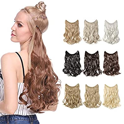 "16""/20""/24"" Curly Secret Wire No Clip Hair Extensions Hidden Wire Synthetic Hairpieces No Clip Hair Adjustable Wire"