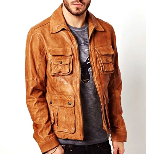 Distressed Blazer (World of Leather Distressed Leather Jacket Biker Blazer Designer Oil Pull Cognac Tan)