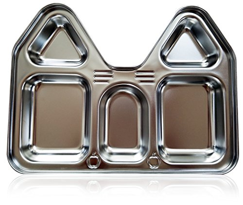 Kids Stainless Steel Section Plates, BPA-Free Safe Fun Non-Toxic Highest Quality House Shape Divided Dish for Picky Eaters Babies Toddler Heavy Duty