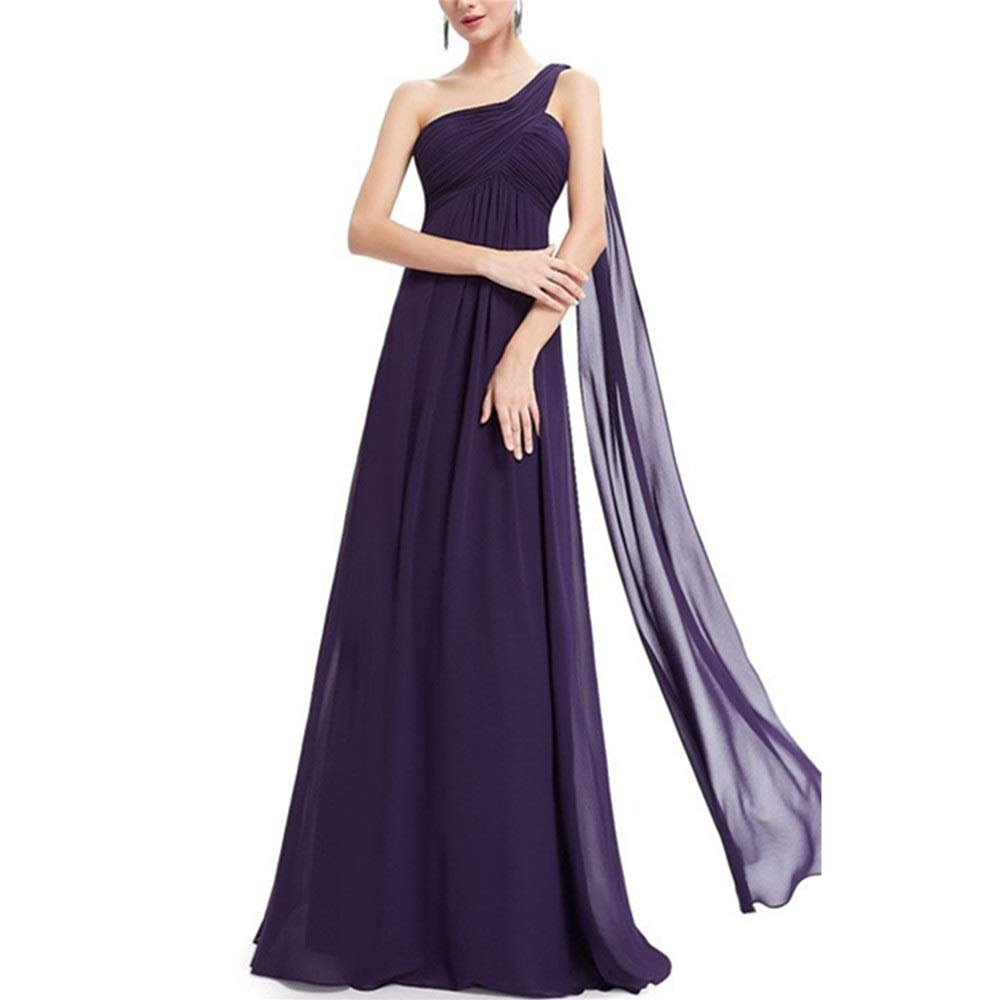 Dark purple Women's Retro Long Skirt Womens Elegant One Shoulder Side Floor Length Evening Dress Lady Party Maxi Skirt Wedding Dress (color   Pink, Size   14)