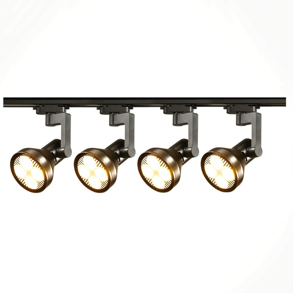 Mei Xu Track Light - Living Room Wall Track Lights Decorative Spotlights - Black/White - 20W/30W/40W - 4 Heads Track Lamp (Color : Black, Size : 30W)