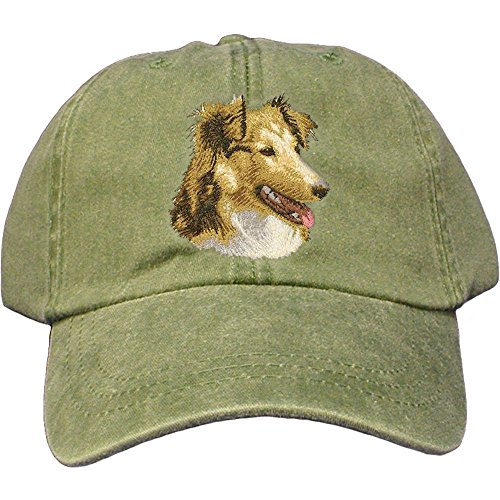 (Cherrybrook Dog Breed Embroidered Adams Cotton Twill Caps - Spruce - Shetland Sheepdog)