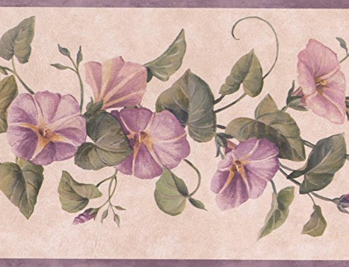 Purple Flowers on Vine Floral Wallpaper Border Retro Design, Roll 15' x 7''