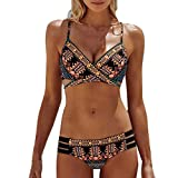 Photno Bohemian Bikini Set for Women, Summer Two Piece Push Up Swimwear Bathing Suit Swimsuit Black